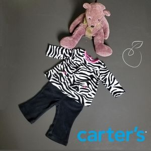 CARTER'S GIRL'S 2-PIECE ZEBRA PANT SET SIZE 6 MOS